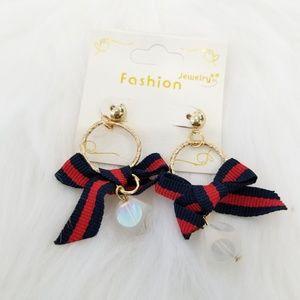 Blue & red bow earrings